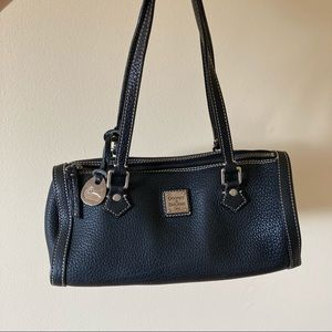 Dooney & Bourke black grained leather cylinder shoulder bag